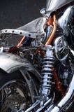 Custom bike. Engine and seat details of a custom bike stock photo