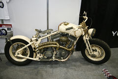 Custom bike Gustav Skippone. MOSCOW - APRIL 1: Custom bike Gustav Skippone at the Moscow specialized Exhibition of motor cycling industry in Russia on April 1 royalty free stock image
