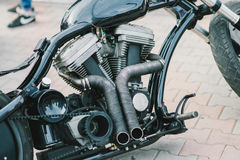 Custom bike. On motorcycle exhibition royalty free stock photos