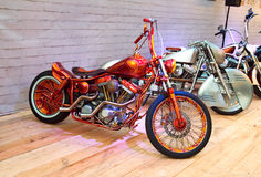 Custom bike on podium of Motorcycle Show. Stock Photo