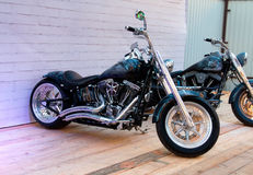 Custom bike on podium of Motorcycle Show. Royalty Free Stock Image
