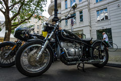 Custom bike in vintage style with BMW's engine. BERLIN - JUNE 05, 2016: Custom bike in vintage style with BMW's engine. Classic Days Berlin 2016 royalty free stock images