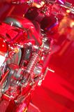 Custom Bikes 2. A couple of custom built motorcycles at an afterparty at a nightclub. Works best as an abstract or as a part of the design Royalty Free Stock Photos