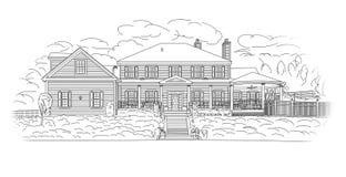 Custom Black House Facade Drawing on White. Custom Black House Facade Drawing on a White Background stock illustration