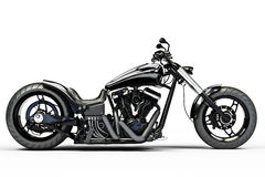 Custom black motorcycle. On a white background Stock Photos