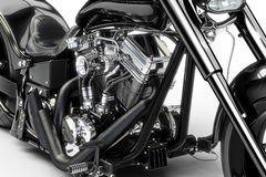 Custom black motorcycle on a white background. Royalty Free Stock Photography