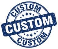 Custom blue grunge round stamp Stock Images