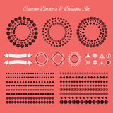 Custom borders, brushes, signs and symbols icons set Royalty Free Stock Photography