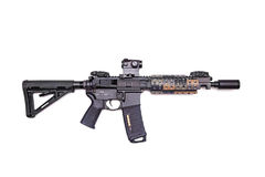 Custom build AR-15 SBR. The Black Rifle: custom build AR-15 SBR isolated on a white background, studio shot Stock Photo