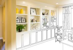 Custom Built-in Shelves and Cabinets Design Drawing Gradating to. Finished Photograph royalty free stock image