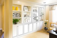 Custom Built-in Shelves and Cabinets Design Drawing Gradating to. Finished Photograph stock photos