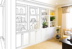 Custom Built-in Shelves and Cabinets Design Drawing Gradating. To Finished Photo royalty free stock images
