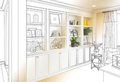 Custom Built-in Shelves and Cabinets Design Drawing Gradating to. Finished Photograph royalty free stock photography