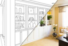Custom Built-in Shelves and Cabinets Design Drawing Sketch. Custom Built-in Shelves and Cabinets Design Drawing with a Cross Section of Finished Photo stock illustration