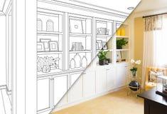 Custom Built-in Shelves and Cabinets Design Drawing Sketch stock illustration