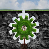 Custom Business. Concept as a tree shaped as a gear or cog growing and adapting between two cliffs with a perfect fit as an industry growth idea with 3D Stock Photos