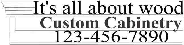 Custom Cabinetry logo brand emblem wood working name tag identification black white letterhead Stock Image