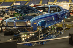 Custom car. Montreal october 10-12, 2014 picture of blue vintage custom chevrolet car in display during the autorama event Royalty Free Stock Image