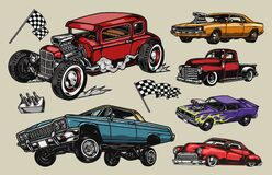 Free Custom Cars Colorful Vintage Composition Stock Images - 217543984