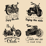 Custom chopper and motorcycle logos set. Vintage inspirational posters, t-shirt prints collection for MC, garage etc. Stock Image