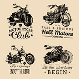 Custom chopper and motorcycle logos set. Vintage inspirational posters, t-shirt prints collection for MC, garage etc. Stock Images