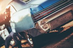 Custom Classic Car. Concept Closeup Photo. Stylish American Automotive Design Stock Images
