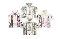 Custom clothes from the dollar bills isolated Stock Photography
