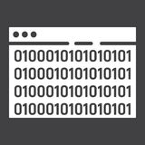 Custom coding glyph icon, seo and development. Browser programming sign vector graphics, a solid pattern on a black background, eps 10 Stock Photos