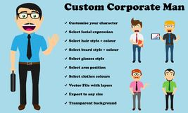 Custom Corporate Man No jacket. From the smiling corporate man to the upset one, you can customise your character to the specific style and expression you need Stock Photo