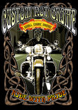 Custom culture. Image illustration a BIKER COMMUNITY for idea PATCH and Tee Shirt, clothing, apparel bikers design Royalty Free Stock Photo