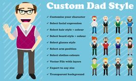 Custom Dad style. From the smiling dad to the grumpy grandfather, you can customise your character to the specific style and expression you need Royalty Free Stock Photography