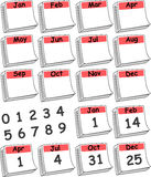 Custom Day Calendar (Red). Day calendar illustration for each month of the year. Customize and crop for your specific application. Several popular days included vector illustration