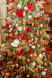 Custom Decorated Christmas Tree in Home Stock Images