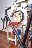 Custom fixie bike parts in a restoration process Royalty Free Stock Photography