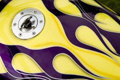 Custom flames. On motorcycle gas tank royalty free stock photography