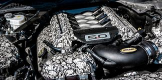 Custom Ford Mustang engine stock photography