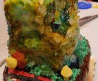 Custom Geo cake. Customers made & x22;geo& x22; cake with false gems stock photo