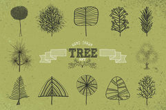 Custom Hand drawn tree icons set Royalty Free Stock Photography