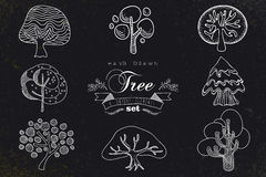 Custom hand made tree icons set Royalty Free Stock Photo