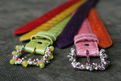Custom handcrafted belts. Luxury custom handcrafted belts and buckles Royalty Free Stock Image