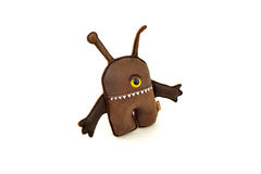 Custom handcrafted stuffed leather toy alien - left Royalty Free Stock Images