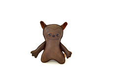 Custom handcrafted stuffed leather toy crazy dog - front Royalty Free Stock Image