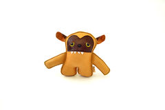 Custom handcrafted stuffed leather toy  golden hound - front Royalty Free Stock Photos