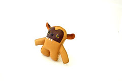 Custom handcrafted stuffed leather toy  golden hound - right Royalty Free Stock Images
