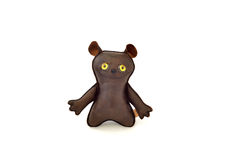 Custom handcrafted stuffed leather toy happy mutt - front Royalty Free Stock Images