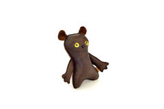 Custom handcrafted stuffed leather toy happy mutt - left Royalty Free Stock Images