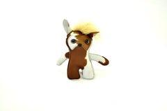 Custom handcrafted stuffed leather toy ice cream sandwich cat - Stock Image