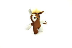 Custom handcrafted stuffed leather toy ice cream sandwich cat - Royalty Free Stock Photography