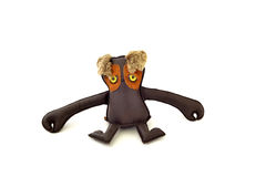 Custom handcrafted stuffed leather toy long armed freak - front Stock Image
