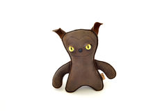 Custom handcrafted stuffed leather toy mean dog - front Stock Photography